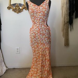 Urban Outfitters Orange Floral Maxi Dress